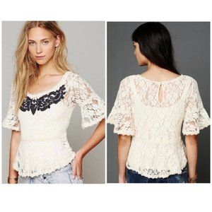 FREE PEOPLE | Cream Lace Embroidered Peplum Top M